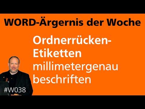 Word-Ärgernis: Ordnerrücken-Etiketten millimetergenau beschriften