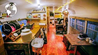 Moving into a Converted School Bus Built by Highschool Students