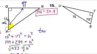 Day 2 HW   #13 To #15   Solving Right Triangles Sin, Cos, Tan, Pythagorean Theorem