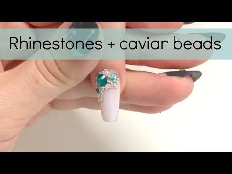 How to: Cuticle rhinestone + caviar beads nail design | Easy crystals nailart tutorial