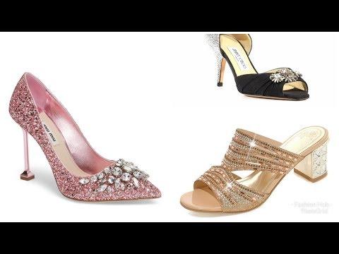 4-6 Inch long heels with detailed kundan pearl work footwear for modern girls/ women