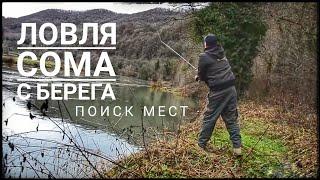 Ловля сома на реке с берега