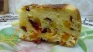 Смотреть онлайн Нежный пирог с сухофруктами в мультиварке