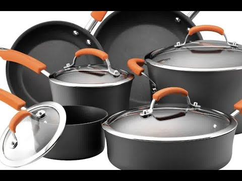 Rachael Ray Hard Anodized - Nonstick Dishwasher Safe 10-Piece Cookware Set - Orange
