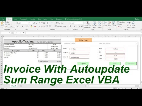 invoice With Auto update Sum range And PDF Format excel VBA
