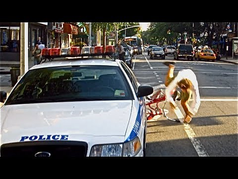 This man got a ticket for not riding in the bike lane, so he made a video of him crashing into things in the bike lane.