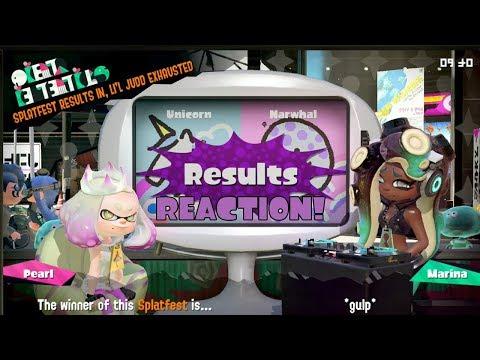Splatoon 2 Splatfest #25 (Unicorn VS Narwhal) Results Reaction