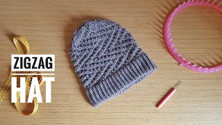 How To Loom Knit An Easy ZigZag Slouchy Beanie Hat (DIY Tutorial)