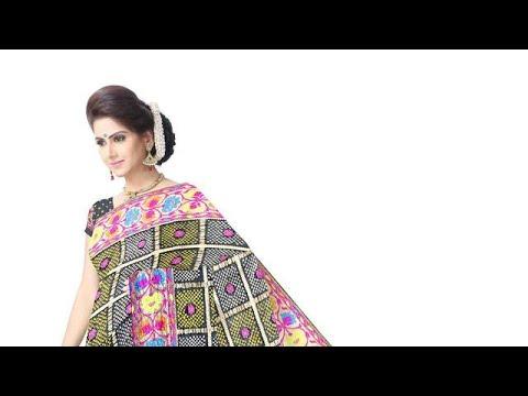 All Over Black Color Checks Design Banarasi Georgette Saree