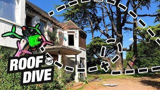 FPV flight abandoned house and roof dives