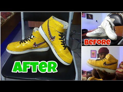 CUSTOMIZING MY OLD NIKE AIR FORCE 1's!!! 👟🖌️🎨    RESTORING MY OLD SNEAKERS WITH BAPE CUSTOMS!!!
