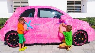 Vlad and Nikita pink car for girls
