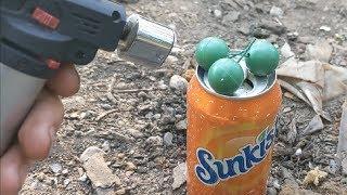 FIREWORKS Vs Orange Soda Can