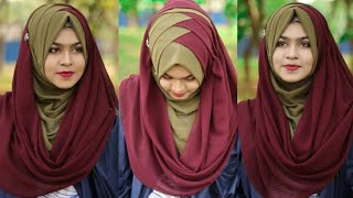 Criss Cross Hijab Style With Chiffon/Jorjet Hijab(Full Coverage)