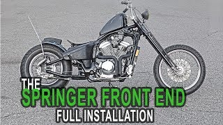 How To Install A Springer Front End  - Honda Shadow Bobber Build