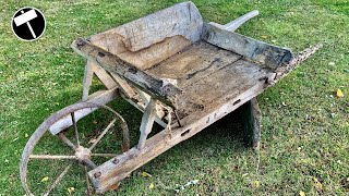 Very damaged wooden Wheelbarrow Restoration