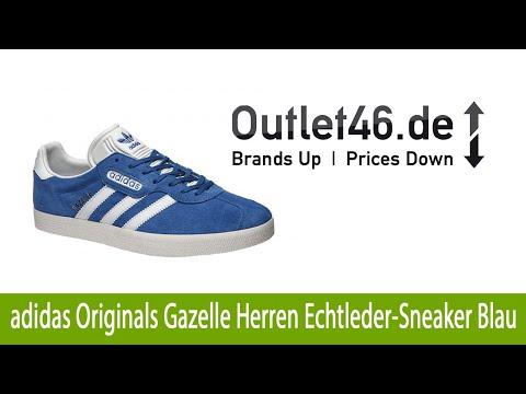 Exklusiver adidas Originals Gazelle Herren Echtleder Sneaker Blau günstig   Outlet46.de
