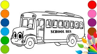 How to drawing | school bus | Coloring pages for kids |  Рисуем автобус