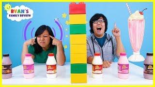 Twin Telepathy Milkshake Challenge with Ryan's Mommy vs Daddy!