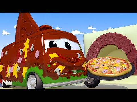 Carlo El Pizzero - El lavado de Autos de Tom La Grúa 🛀 Dibujos animados de carros