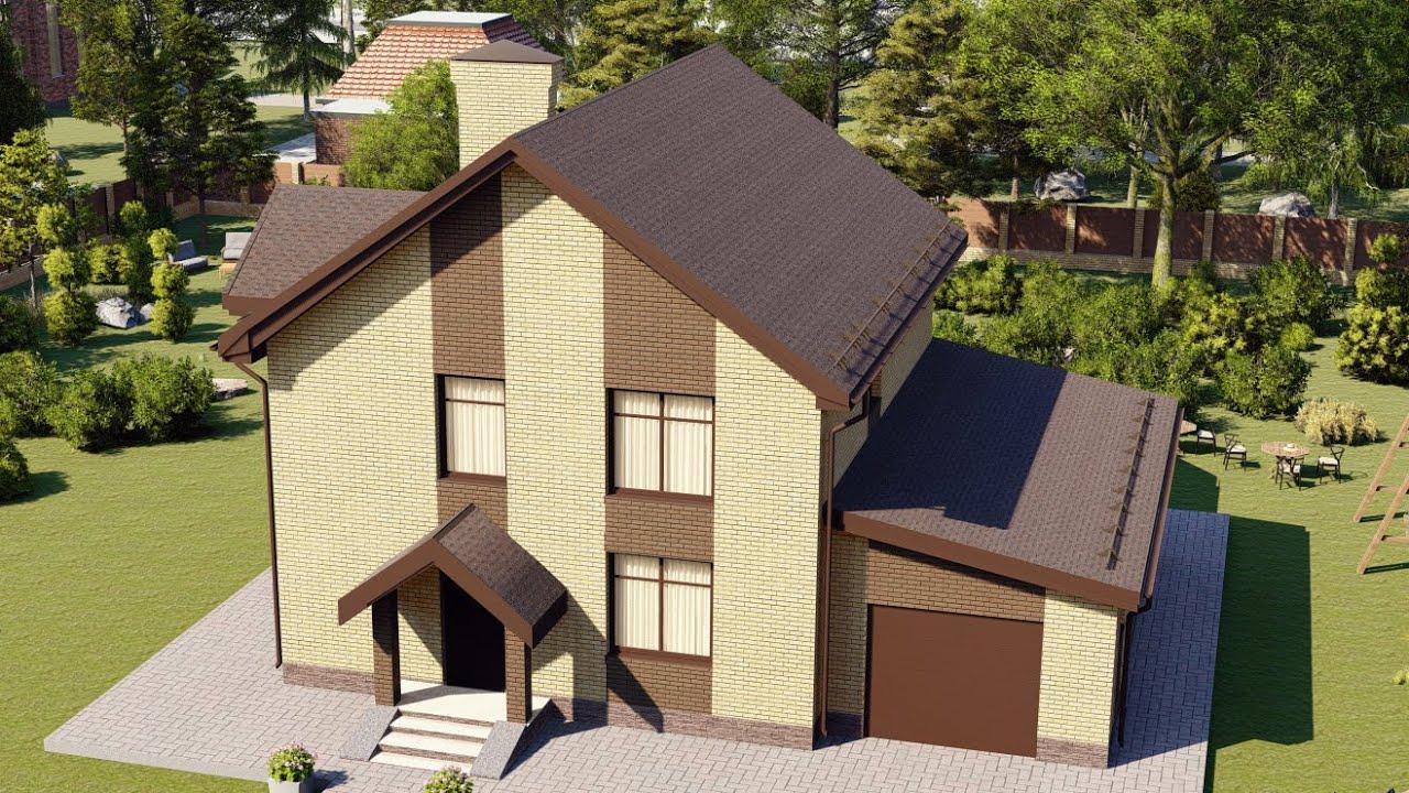 Проект дома из блока с мансардой и гаражом 204 м2