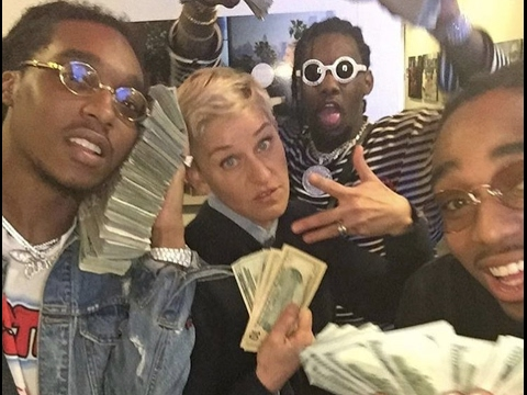 """Migos """"Pulls Up On Ellen Show With Tons Of Cash Ellen Hella Shocked"""" (видео)"""