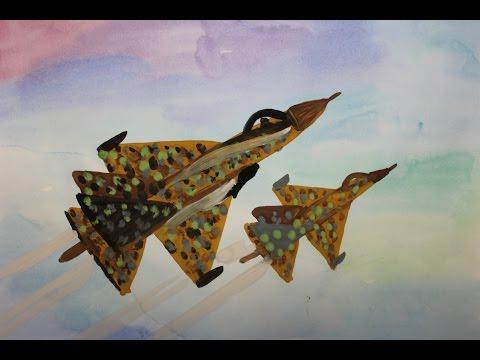 Как нарисовать самолет гуашью поэтапно. Видео урок для детей 5-7 лет.