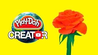 Playdoh Rose Flower Easy Craft DIY - Playdough tutorial creative and fun for kids