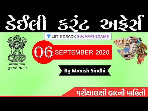 6th September 2020 Current Affairs in Gujarati by Manish Sindhi l GK in Gujarati 2020 [GPSC 2020]