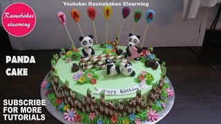 Simple cute celebration panda birthday party cake design ideas decorating tutorial video