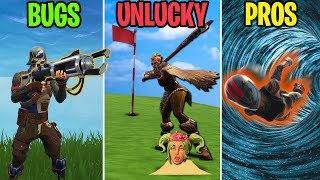 GOLF CLUB TO THE SKULL! BUGS vs UNLUCKY vs PROS! Fortnite Battle Royale Funny Moments