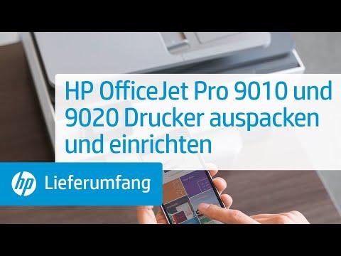 Hier erfahren Sie, wie Sie HP OfficeJet Pro 9010 und 9020 Drucker auspacken und einrichten