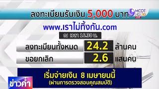 ประชาชนลงทะเบียนยกเลิกรับเงินช่วยเหลือ 5,000 บาท จำนวน 2.6 แสนราย