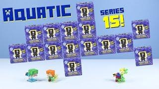 Minecraft Mini-Figure Aquatic Series 15 Review Dolphin Turtle Phantom!