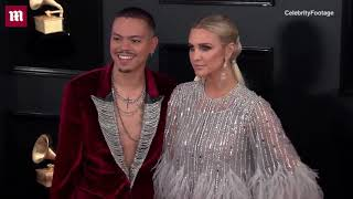 Ashlee Simpson And Evan Ross In Silver And Red At 2019 Grammys
