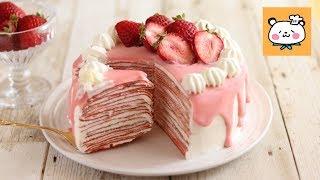 いちごのミルクレープの作り方 Strawberry crepe cake|HidaMari Cooking