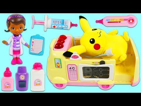 Pokemon PIKACHU Gets Sick and Visits Disney Jr Doc McStuffins Pet Vet Toy Hospital Ambulance!
