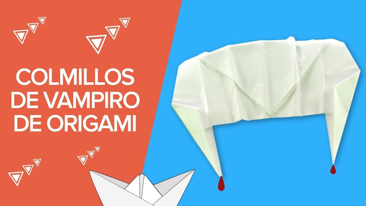 Cómo hacer unos colmillos de vampiro de origami para Halloween