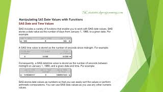 SAS programming on Data Manipulation and Preparation Part 1 Modify Variables: SAS date function: MDY