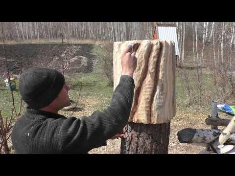 Колода для колки дров, чашкорез в работе, украшаем чурку с аэрографом