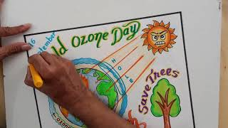 Ozone Day Drawing Easy Steps    Ozone Day Poster for Project Work    How to Draw Ozone Day Poster