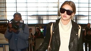 Gigi Hadid Attracts A Crowd At LAX