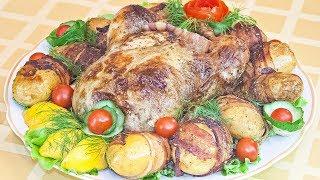 Курица, запеченная с лимоном и прованскими травами + Картофель, запеченный в беконе (2 рецепта)