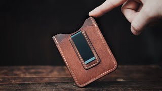 Making A Handmade MONEY CLIP Leather Wallet - ASMR Edition