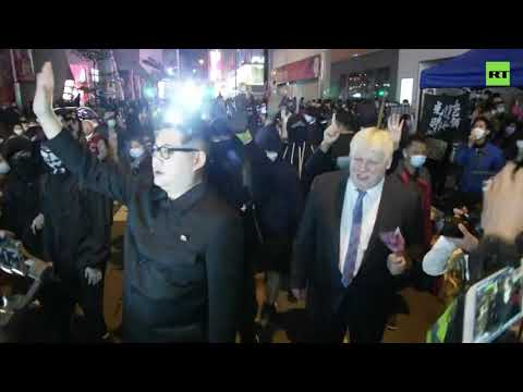 'Kim' and 'Boris' meet with protesters in Hong Kong