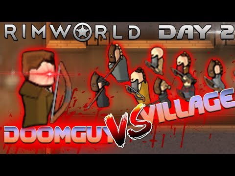 Doomguy takes on 15 villagers SOLO and captures AMAZING villager (Doomguy 2.0 VS Rimworld Day 2)