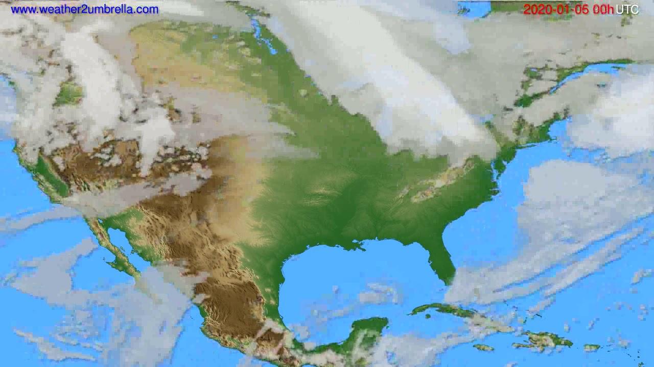 Cloud forecast USA & Canada // modelrun: 00h UTC 2020-01-05