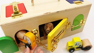 Learning Colors Vehicles Animals with Unlocking Wooden Box Toy