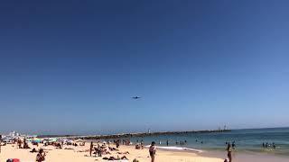 Hi Fly A380 overflying Falésia Beach, Algarve