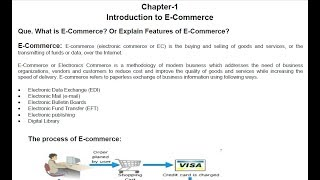E-Commerce Tutorial 1 : Introduction | What is E-Commerce | Features of E-Commerce In Hindi-English